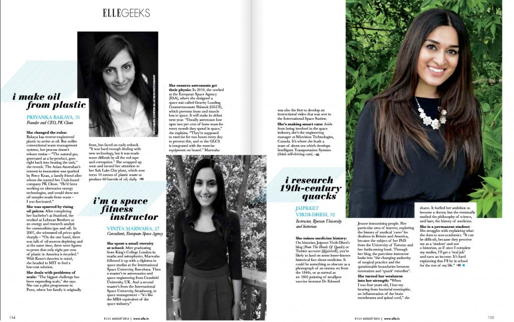Featured in ELLE India - 12 Genius Young Women Shaping The Future""