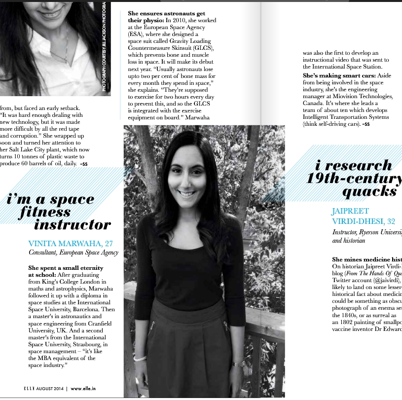 Vinita Marwaha featured in ELLE India - 12 Genius Young Women Shaping The Future""