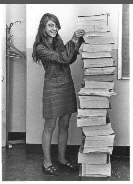 This is Margaret Hamilton, NASA lead software engineer, and this is the Apollo guidance program that she wrote.