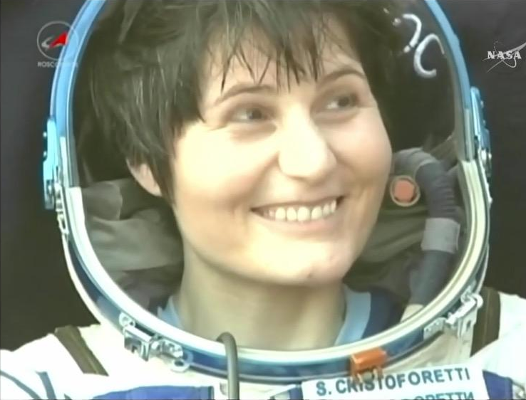 ESA astronaut Samantha Cristoforetti smiling following her Soyuz landing in Kazakhstan after spending 200 days in space