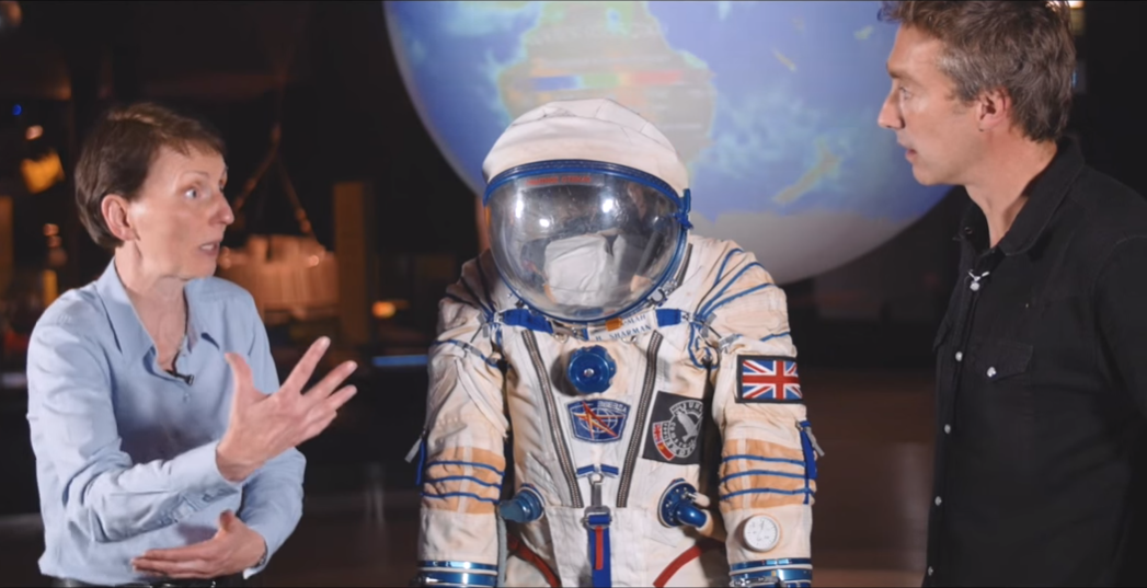 British Astronaut Helen Sharman describing her Sokol spacesuit to presenter Dallas Campbell [Copyright: Royal Institution]
