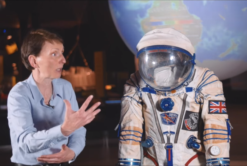 Helen Sharman recently with her Sokol spacesuit
