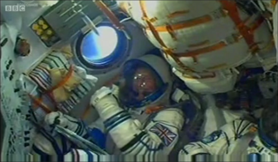 A smiling Tim Peake, First British ESA Astronaut, gives a thumbs up launching to the ISS on 15th December 2015