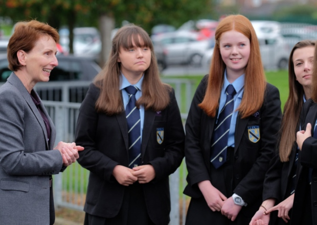 Britain's first astronaut, Helen Sharman, with High Tunstall College of Science students in Hartlepool, UK, launching its STEM initiative. [Copyright: Hartlepool Mail]