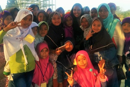 With school girls and their teacher in Indonedia
