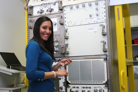 Vinita Marwaha Madill installing and developing the astronaut procedures for EML (Electromagnetic Levitator) using the training model at the European Astronaut Centre