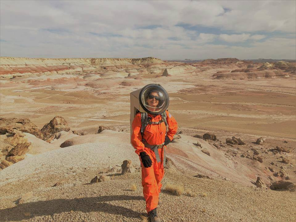 Anima at Mars Desert Research Station (MDRS) where she was a Commander for a Mars Analog Mission - a 14 day mission research study to understand the challenges astronauts will face when they live and work on Mars in isolation. In this image she is taking part in one of several 4 hour analog spacewalks