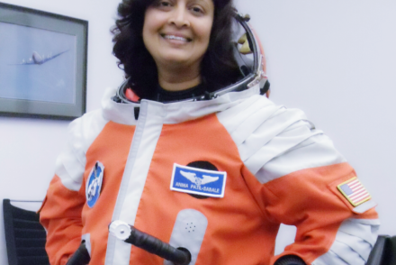 Anima suited up wearing a Final Frontier Design Spacesuit for a suborbital flight on the XCOR LYNX spacecraft simulator