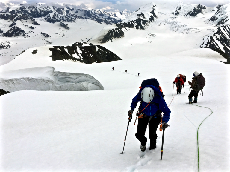 Claudine Hauri, a UAF research assistant professor, and the Girls on Ice team climb during a trip to Gulkana Glacier in 2016. [University of Alaska Fairbanks - UAF]