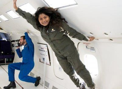 Madhurita during a flight on NASA's reduced gravity aircraft