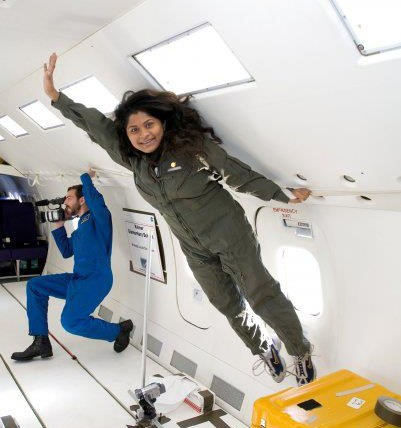 Madhurita during a flight on NASA's reduced gravity aircraft