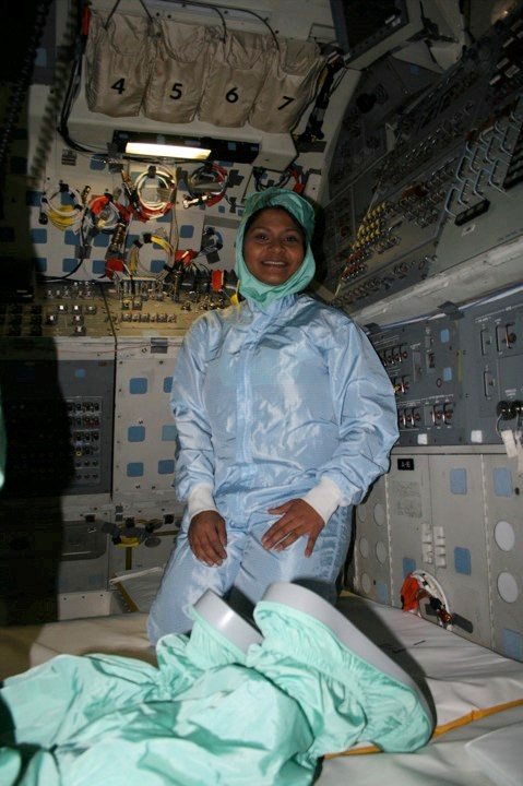 Madhurita on the NASA Space Shuttle Atlantis's Flight Deck