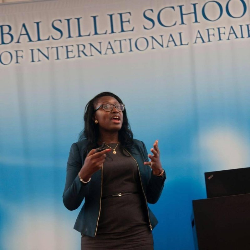 Timiebi Aganaba-Jeanty speaking on-stage