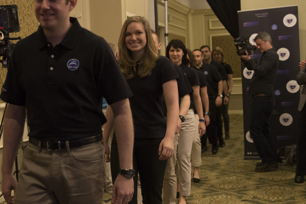 Jenni Sidey among the top 17 candidates of the 2017 astronaut recruitment campaign are announced during a press conference in Toronto, Ontario. [Image Credit: Canadian Space Agency]