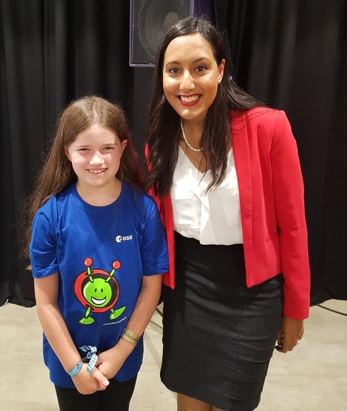 It was amazing to meet 8-year-old Chloe after my talk and hear about her space goals! She's a dedicated and inspiring young lady! (Image credit: Claire Mainstone)