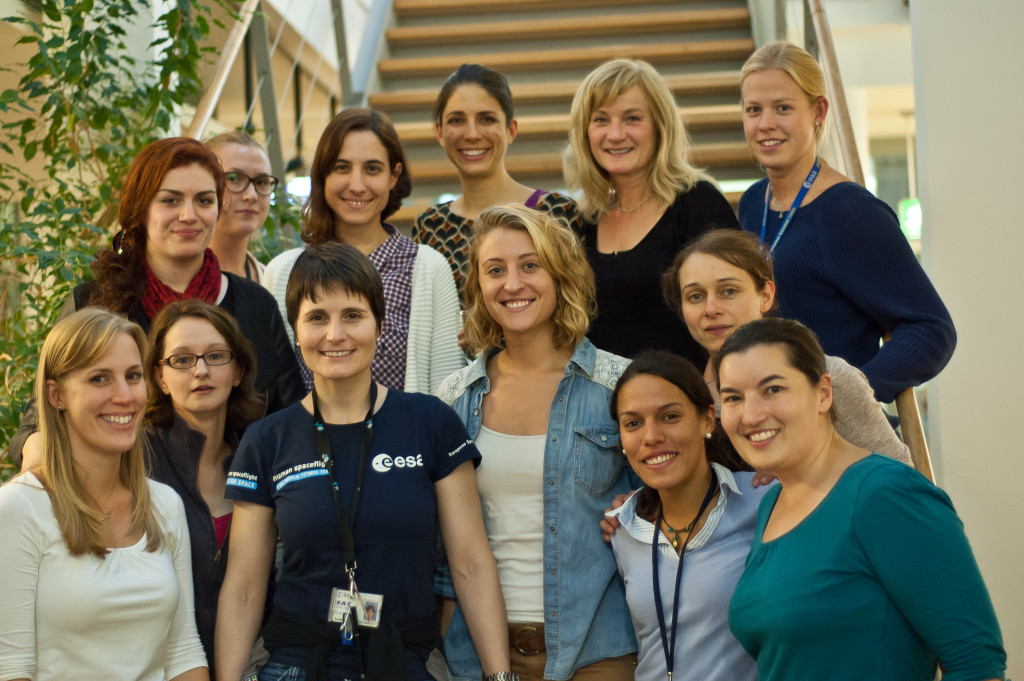 Susan Buckle with women working at the European Astronaut Centre, including ESA Astronaut Samantha Cristoforetti, at Samantha's post-mission return party!