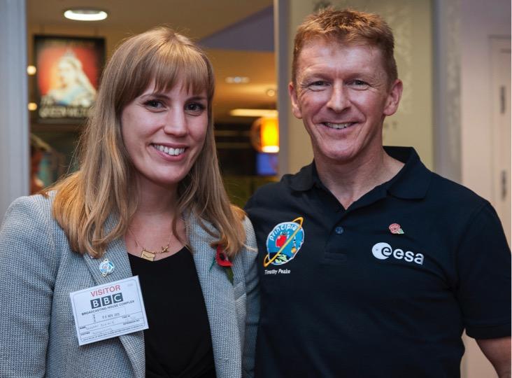 Susan Buckle with British ESA Astronaut Tim Peake at the BBC