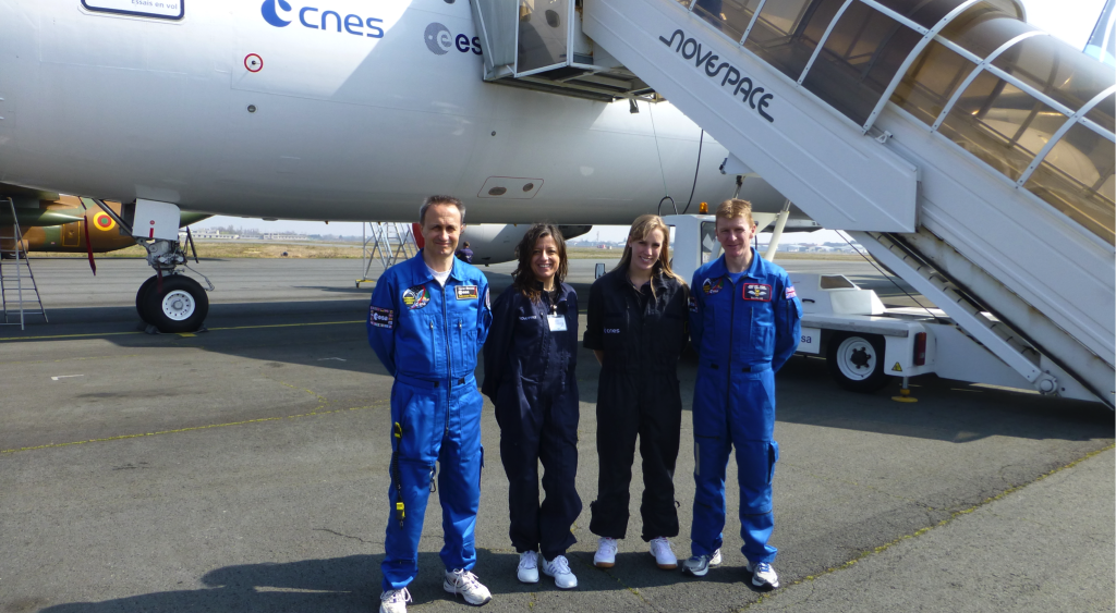 Susan Buckle with British ESA Astronaut Tim Peake taking part in a parabolic flight campaign for his pre-mission training