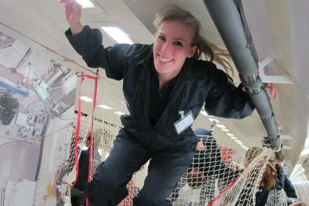 Susan Buckle taking part in a ZeroG flight!