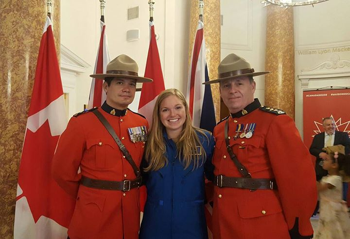 Trailblazing Canadian astronaut candidate Jenni Sidey at #Canada150 🇨🇦 celebrations at the Canadian Embassy in the UK with The Queen. [Copyright: High Commission of Canada in the United Kingdom]