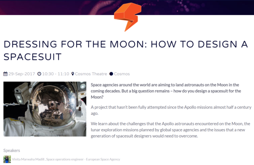 Dressing For The Moon: How To Design A Spacesuit - Vinita Marwaha Madill [Image: New Scientist Live https://live.newscientist.com/talks/dressing-for-the-moon]