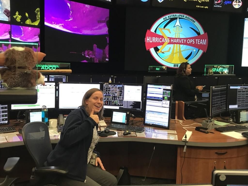 Fiona Turett working in NASA's Mission Control Center during Hurricane Harvey
