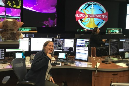 Fiona Turett working in NASA's Mission Control Center during Hurricane Harvey