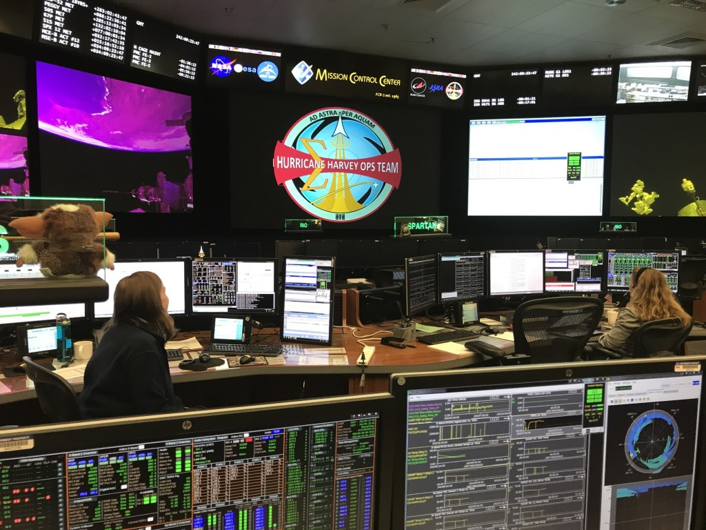 NASA's Mission Control During Hurricane Harvey With The Harvey Patch in Flight Control Room 1 (FCR-1)