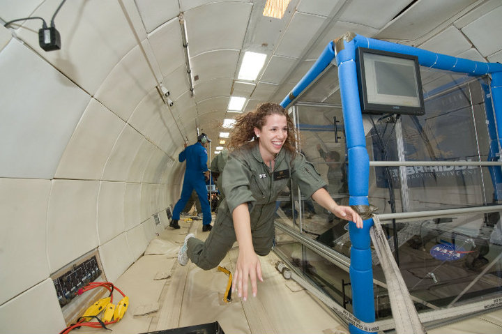 Natalie Flying in Microgravity