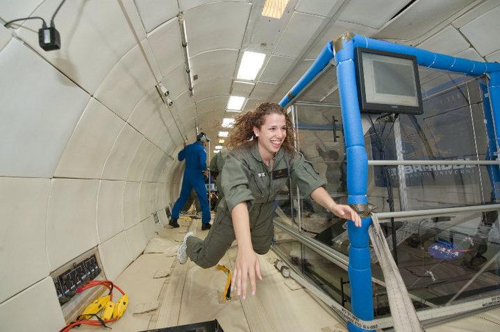 Natalie Flying in Microgravity