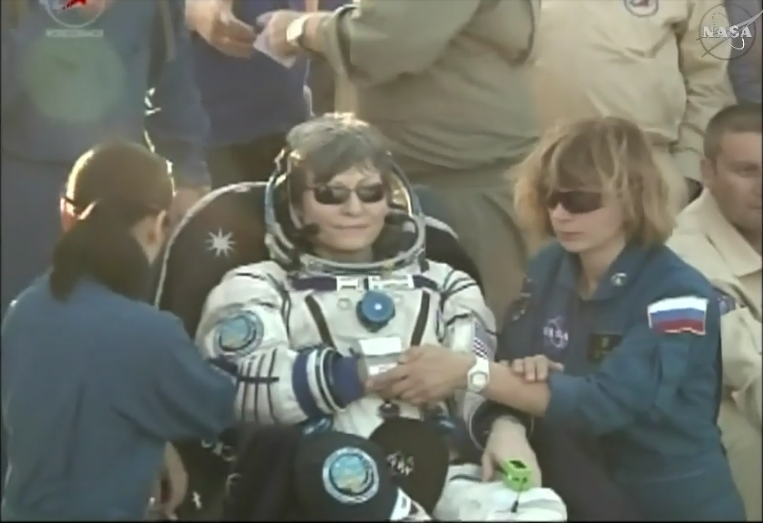 NASA Astronaut Peggy Whitson returning to Earth, after spending 288 days in space, or nearly 10 months (Source: Still image taken from NASA TV)