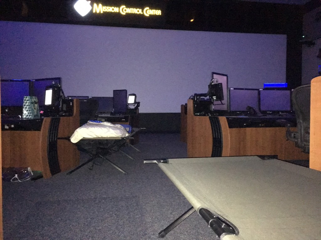 The former NASA Space Shuttle Flight Control Room where the Mission Control Team slept in cots, to keep the International Space Station flying during Hurricane Harvey