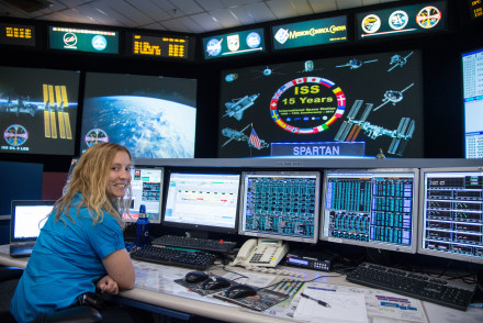 Jessica Tramaglini on-console in NASA's Mission Control Center [Copyright: NASA, Photographer: Bill Stafford]