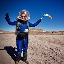 Niamh taking part in a Martian simulation in the Utah desert