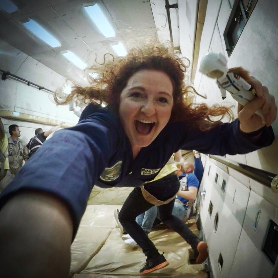 Niamh on a zero-g flight in Russia with the Stargazing Lottie Doll