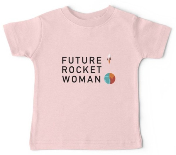 Future Rocket Woman Children's T-Shirt - Pink [Red Bubble/Marka Design]