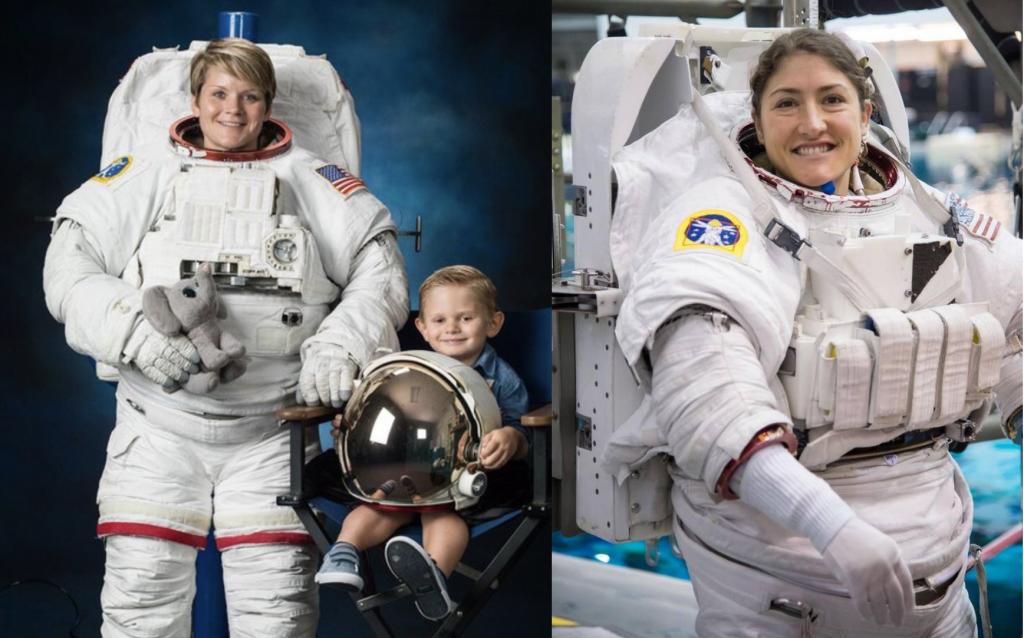 L - NASA Astronaut Anne McClain with her son posing for her official NASA EVA portrait  R - NASA Astronaut Christina Koch during EVA/Spacewalk training at NASA [NASA]