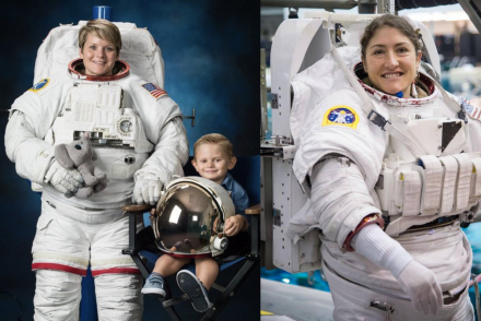 L - NASA Astronaut Anne McClain with her son posing for her official NASA EVA portrait  R - NASA Astronaut Christina Koch during EVA/Spacewalk training at NASA [NASA]