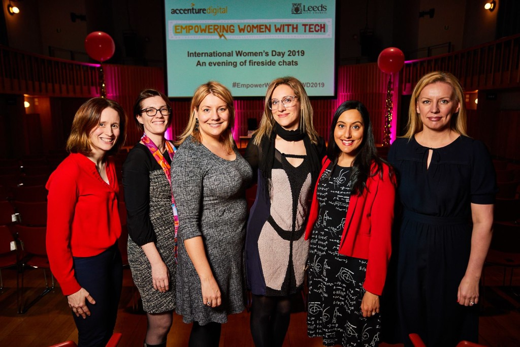 Speakers at the Empowering Women With Tech International Women's Day 2019 event . Pictured (L-R): Eve Roodhouse (Chief Officer Economic Development, Leeds City Council), Niamh McKenna (Managing Director Accenture Health UK), Natasha Sayce-Zelem (Founder, Empowering Women with Tech), Ana Jakimovska (Director of Product Management, The Guardian), Vinita Marwaha Madill (Founder, Rocket Women), Councillor Rebecca Charlwood (Leeds City Council) [David Lindsay/Empowering Women with Tech]