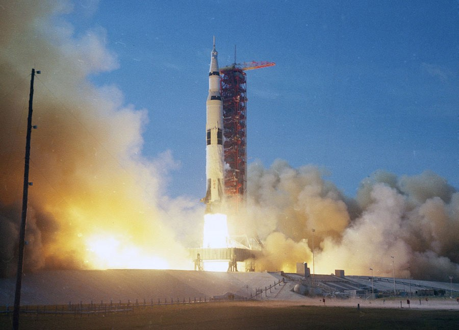 Apollo 11 mission launch from KSC on July 16, 1969. Credit: NASA.