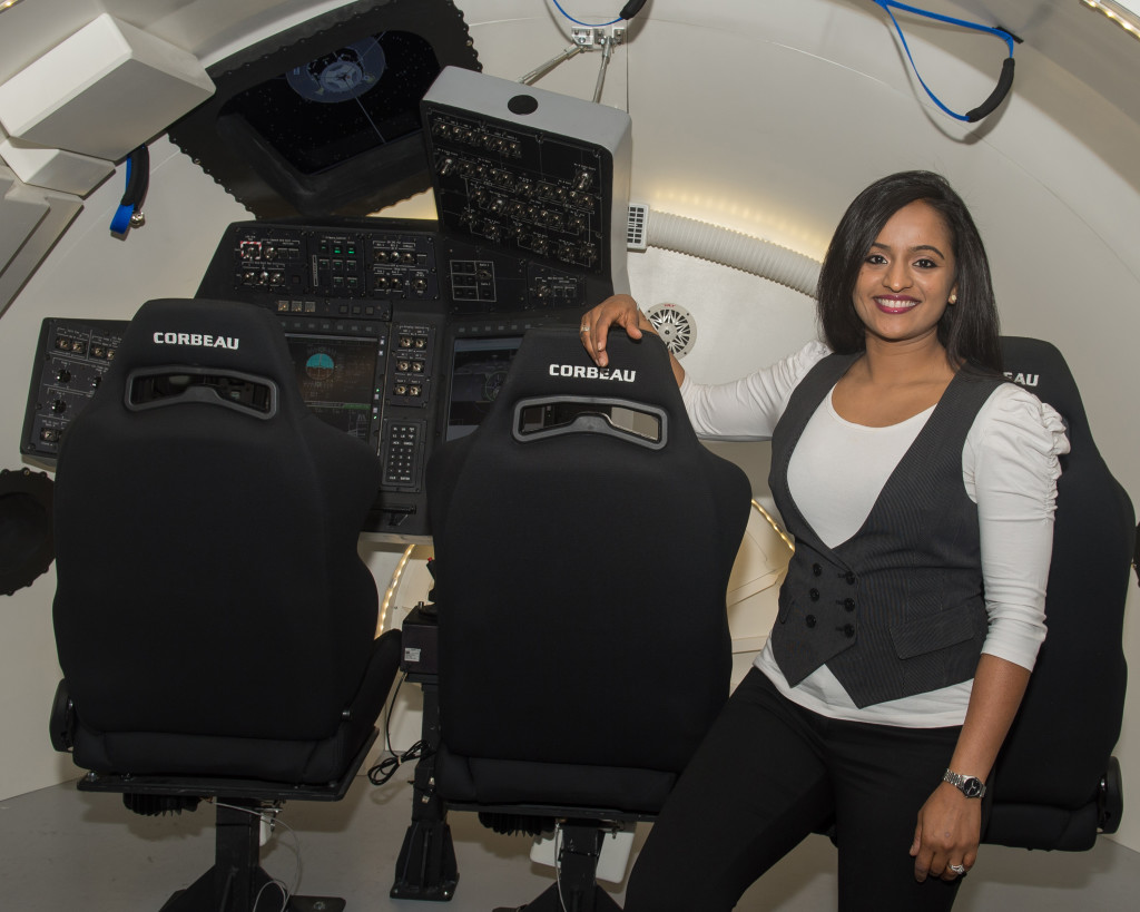 Kavya Manyapu working on the Boeing commercial crew Starliner vehicle [Credit: Kavya Manyapu / Boeing]