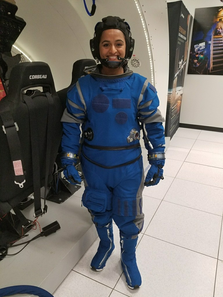 Kavya Manyapu, Starliner Spacesuit Lead, wearing the Boeing Starliner spacesuit [Image credit: Boeing/Kavya Manyapu]