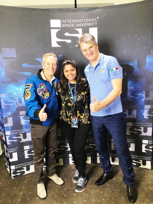 Rushanka with European Space Agency (ESA) Astronauts Paolo Nespoli and Jean-Francois Clervoy at  the ISU SSP International Astronaut Panel